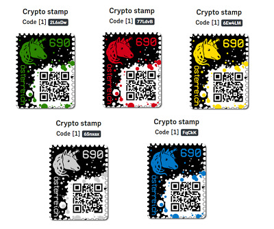 # Crypto Stamp - COMPLETE SET (1x RED, 1x YELLOW, 1x BLUE, 1x GREEN, 1x BLACK) #