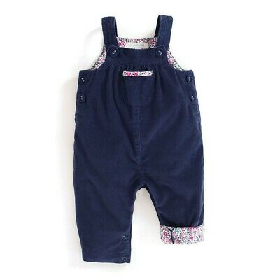 NEW ex JoJo Maman Pretty Cord Dungarees - Navy - 0 to 3 Years - RRP £22