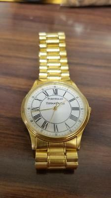 Tiffany and Co. Men's Portfolio Wrist Watch in Gold Plate Over Stainless Steel