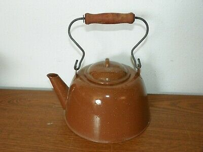 Vintage Brown Speckled Enamelware Tea Pot Kettle Farmhouse Wood Handle Rustic