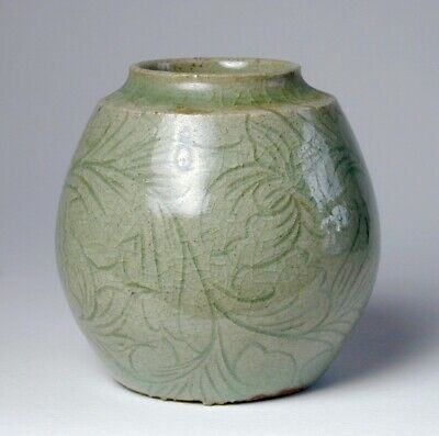 Small Antique Asian Celadon Porcelain Vase Jar With Beautiful Incising All-Over