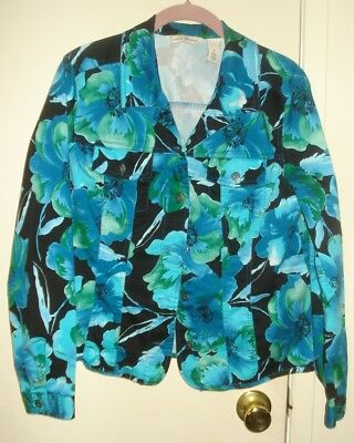 French Laundry Turquoise Floral SHIRT JACKET - Jean Jacket Style - Cotton Size L