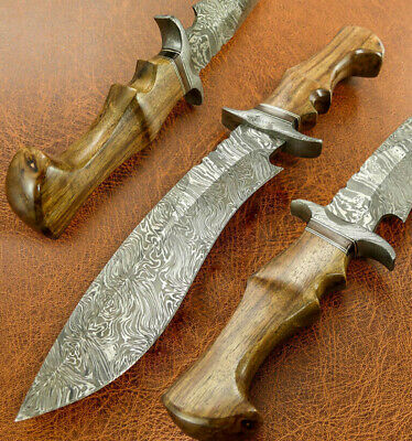 Custom Damascus Steel Hunting Bowie Knife / Dagger / Sword / Fighter Kukri Style