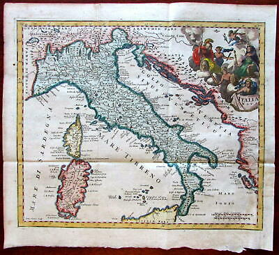 Italy Italia 1650-1711 Senex decorative map lovely hand color