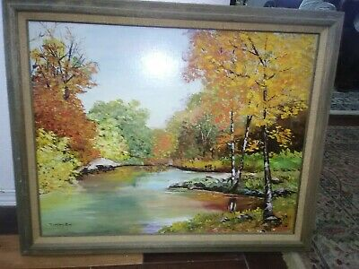 Ventage beautiful authentic oil on canvas paintings signed Merian Cox