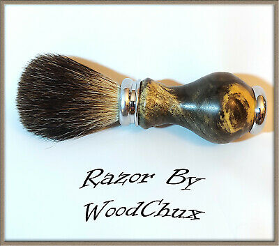Handmade Buckeye Burl Wood Silver Badger Hair Shaving Brush Made In USA Wood 289