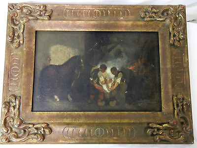 18 th century .old original Spain! Oil painting /master piece /man+horse rear