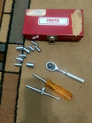 "Proto 1/4"" Drive Ratchet Set with Sockets, Breaker Bar, Driver & Case"