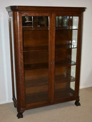 Antique Two Door Claw Foot Quarter Sawn Oak China Cabinet / Bookcase C. 1900's