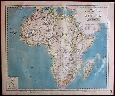 Africa Continent 1883 Lett's scarce map w/ interesting interior details