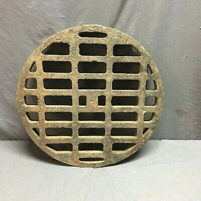 "Antique Cast Iron 20"" Round Storm Drain Cover Grate Grill Vtg Industrial 85-19J"