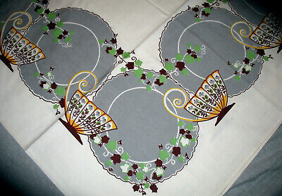 Vintage Cotton Print Tablecloth Cups & Saucers Plates Ivy Grey Green New w Label