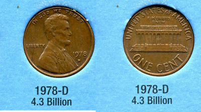 1978 D ABE Lincoln Memorial AMERICAN PENNY 1 CENT US U.S AMERICA ONE COIN #B1