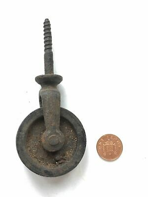 "Reclaimed Old Cast Iron Single Screw-In Pulley With 2"" Wheel"