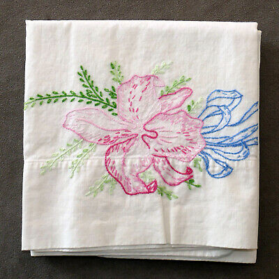 Linens Pillowcase VINTAGE EMBROIDERED Standard Floral Flowers ORCHID Pink Blue