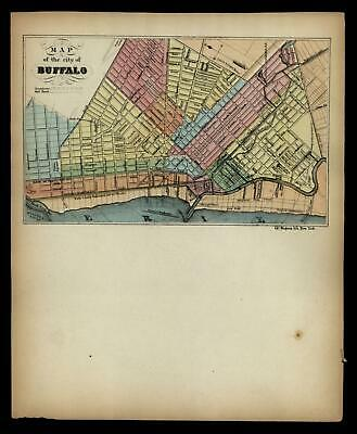 Buffalo New York Lake Erie 1850 Magnus rare hand colored city plan letter sheet