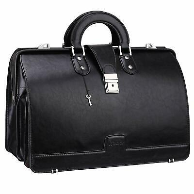 Ronts Vintage PU Leather Briefcase for Men Lawyer Attache Case with Lock 15.6 In