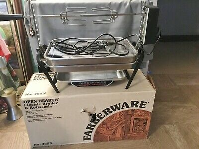 Vtg Farberware 455N Open Hearth Stainless Electric Broiler Grill Rotisserie Box