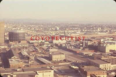 Orig 35mm Slide LOS ANGELES FROM CITY HALL Old Industry WHITE KING SOAP 1960