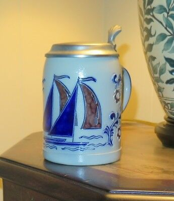 Vintage Goebel Beer Stein Half Liter Size from the 1980s, Ceramic & Pewter.