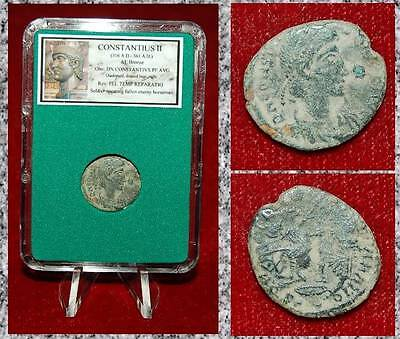 Ancient Roman Empire Coin CONSTANTIUS II Roman Soldier Spearing Fallen Horseman!
