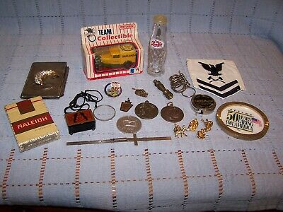 Vintage Collectible Junk Drawer Lot - Advertising,Tokens,Matchbox & More