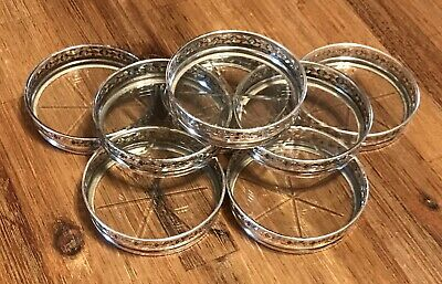 Set Of 8 Vintage Antique Sterling Silver And Glass Coaster By Birks & Sons