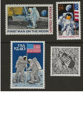 First Man On The Moon Special Collection 4 Us Stamps Mint