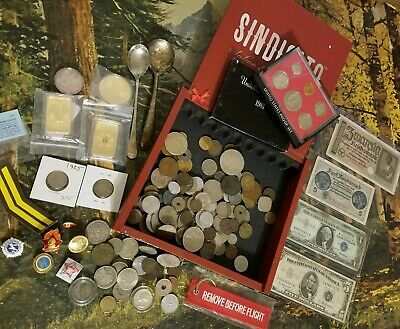 Junk Drawer Lot In Cigar Box Us / World Coins - Silver - Banknotes Tokens Lbs