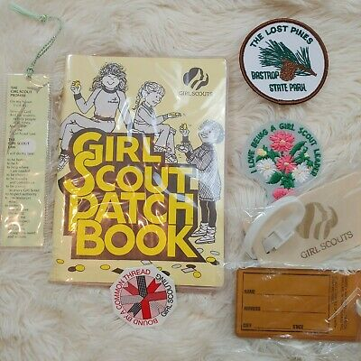 GIRL SCOUT LOT Patches Patch Book Pin Bookmark Luggage Tags Bastrop Texas Leader
