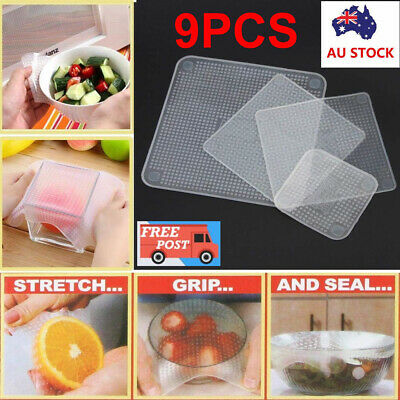9 X Silicone Stretch Lids Food Fresh Wraps Seal Vacuum Cover Food Seal Container