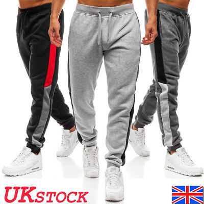 UK Mens Tracksuit Bottoms Gym Sports Pants Jogging Jogger Running Trousers Size
