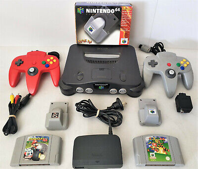 Nintendo 64 Console + 2 Controllers + 2 Mario Games +  Rumble Pack LIKE NEW