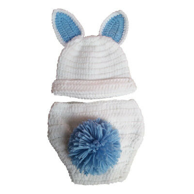 Photo Photography Prop Newborn Baby Girl Boy Crochet Knitted Blue Rabbit Outfit