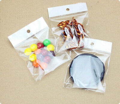 Clear Plastic Self Adhesive OPP Bag Poly Jewelry Packaging Pouch With Hang Hole