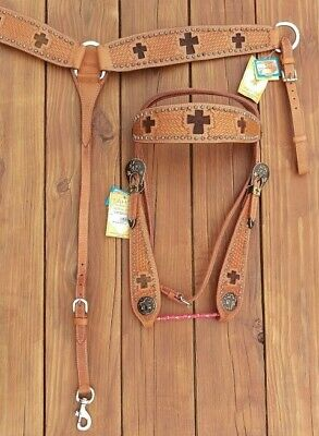 NEW Western Tack Set * Headstall Bridle * Breast Collar * FULL * Leather * Cross