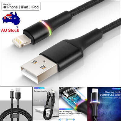 Baseus LED Lightning USB Fast Charging Sync Cable for iPhone iPad iPod Airpods