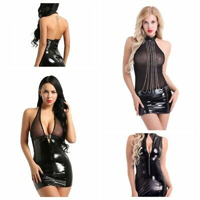 Sexy Women's PVC Leather Bodycon Cocktail Dress Clubwear Zipper Mesh Mini Dress