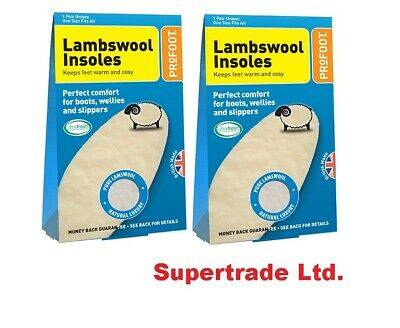 2 X Profoot Lambs Wool Insoles  Boots, Wellies, Slippers  Keep Feet Warm -1 Pair