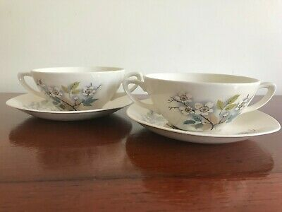 Vintage Midwinter~Orchard Blossom - 2 x  Handled Soup Cup/Bowl and Saucer