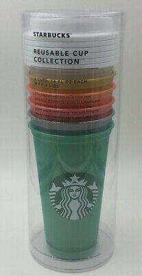 New Starbucks Reusable Cups Collection Limited Edition Shimmery Pearl Lot of 6
