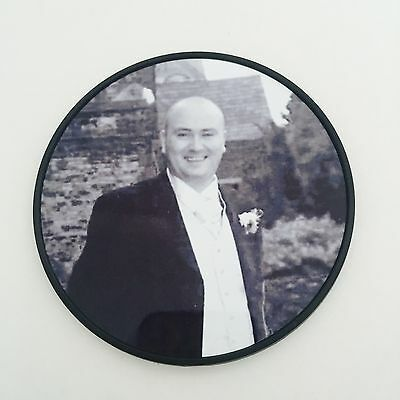 Memorial Photo Plaque - 9cm Metal CIrcle for Headstone GraveSide  Pots -Any Pic