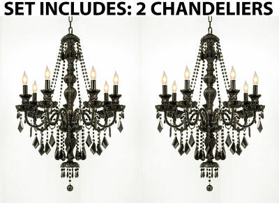 This Auction Is For 2 Black Glass 7 Light Dining Living Room Crystal Chandeliers