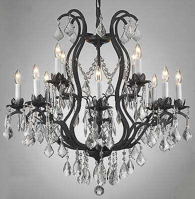 12 Light Wrought Iron Style Crystal Chandelier Living Dining Room Foyer Kitchen