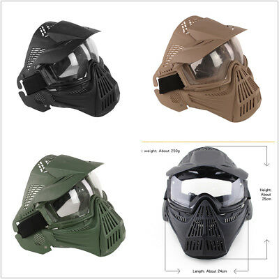 Protective Military Hunting Airsoft Mesh Tactical full Face & Lens Goggles