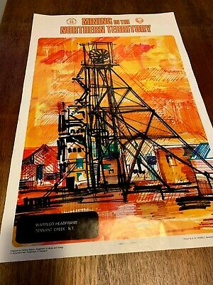 RARE Vintage NT MINING ART Posters x 3. Artist R. Whiteford circa 60s / 70s