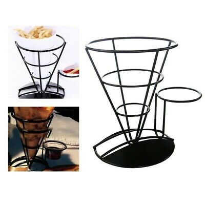 Metal Iron Wire Bowl Kitchen Fry Food Stand French Fries Chip Cone Holder