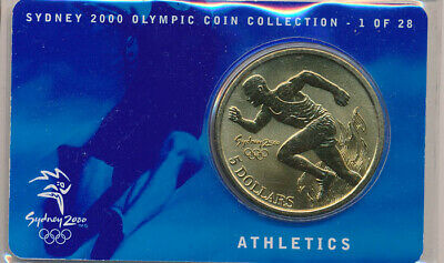 Australia: 2000 $5 Sydney Olympics - Athletics, 1 of 28, UNC in RAM Card, Cat$15