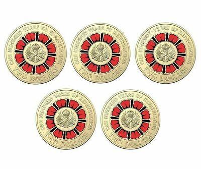 5 x UNC 2019 A Hundred Years Of repatriation Multi Colour $2 Coins, RAM Logo Bag