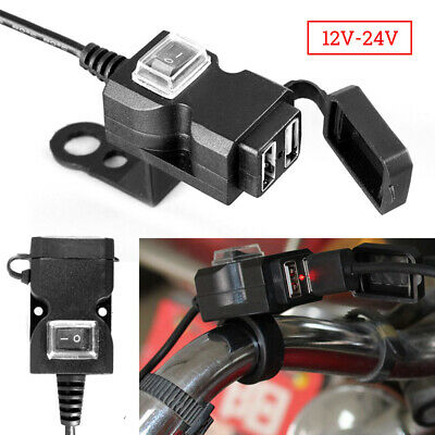 Waterproof Dual-USB 12V Motorcycle Handlebar Charger Socket With Switch & Mount